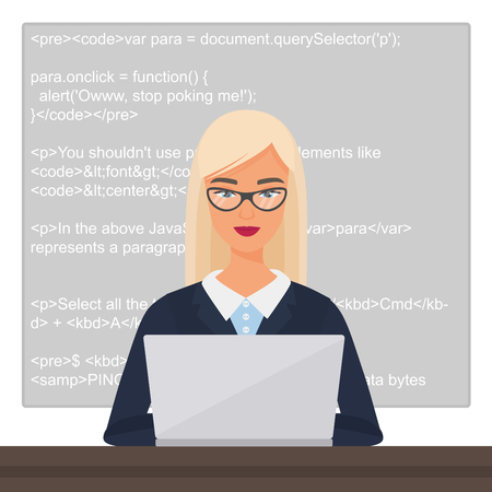 Vector young pretty beautiful blond lady black programmer sitting at the desktop and working on the laptop with code. Professional female woman character coding.