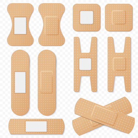 Medical adhesive bandage elastic plasters vector set. Realistic elastic bandage patch, medical plaster isolated on transperant alpha background. Vettoriali
