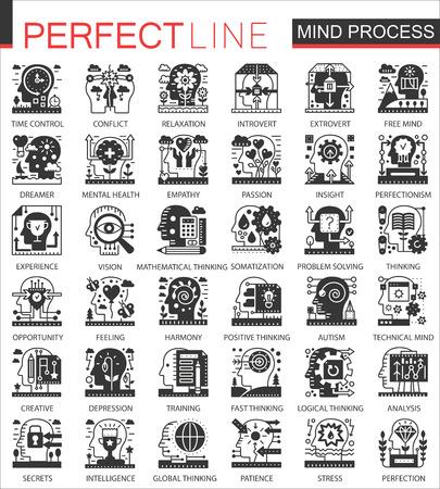 Vector Brain mind process black mini concept icons and infographic symbols set.