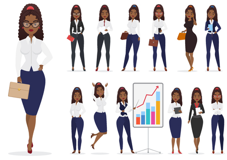 African american black businesswoman lady character different poses design set. Vector cartoon female design.