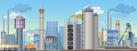 Industrial landscape with factories and manufacturing plants. Flat Vector industry illustration. Stock Illustratie