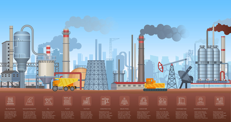 Industrial infographics with factories and plants and icons symbols charts. Vector Industry illustration. Stock Illustratie