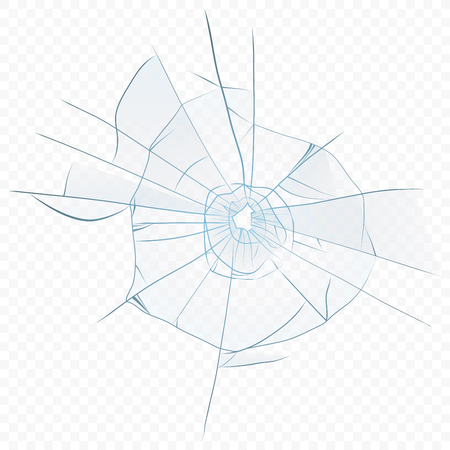 A Vector Cracked crushed realistic glass on the transparent alpha background. Glass hole.