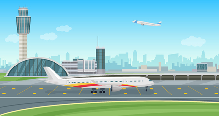 Airport terminal building with aircraft taking off vector airport landscape. Stock Illustratie