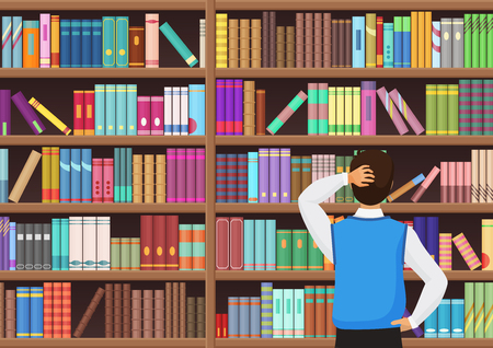 Young man chooses a book in the library vector illustration.