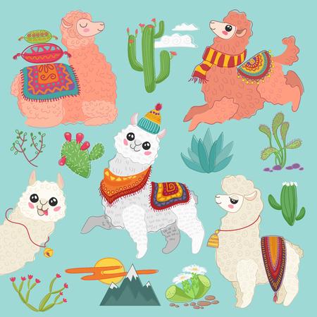 Set of vector cute vector alpaca lama and desert cactus elements.