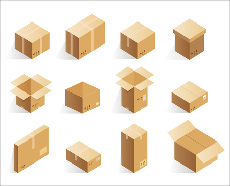 Isometric realistic cardboard delivery boxes. Opened, closed logistic box Vector illustration. Illustration