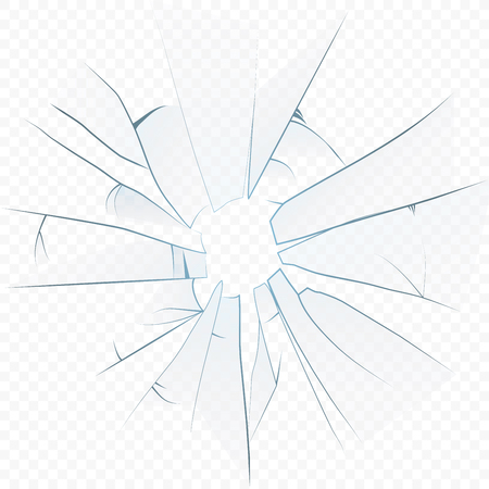 Vector Cracked crushed realistic glass on the transparent alpha background