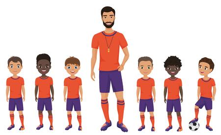 Pequeño equipo de fútbol de niños de escuela con un entrenador. ilustración vectorial