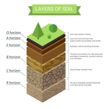 Vector soil layers isometric diagram.