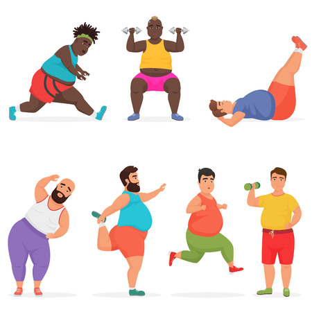 Vector funny chubby fat man characters set doing gym workout exercises. Sport fitness