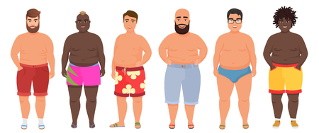 Cartoon vector funny fat man in underwear, bathing suit. Male swimsuits