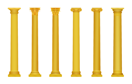 Vector illustration of golden realistic high detailed greek roma ancient columns. Luxury gold column
