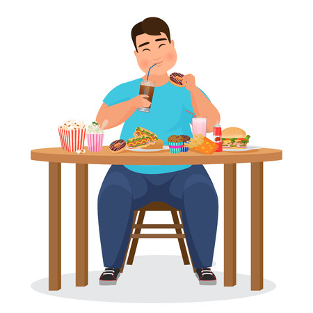 Funny fat obese man eating hamburger fast food. Vector Illustration.  イラスト・ベクター素材