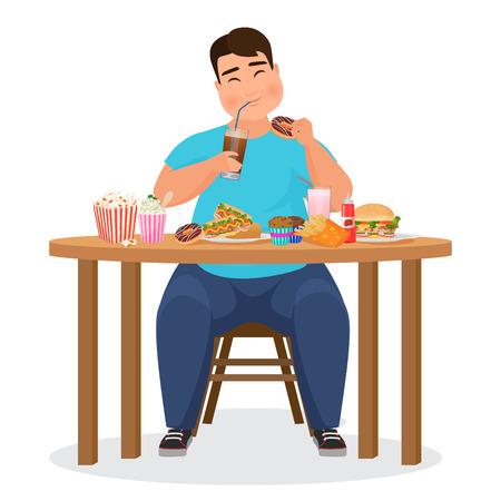 Funny fat obese man eating hamburger fast food. Vector Illustration. Vectores