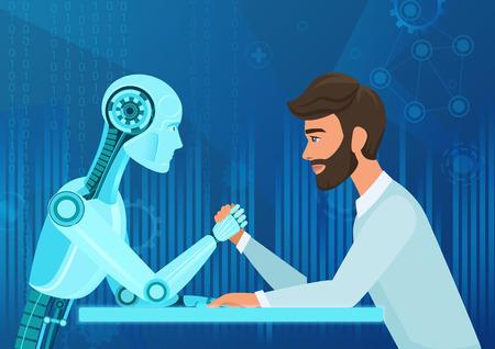 Vector de dibujos animados Hombre de negocios humano Gerente de oficina hombre vs inteligencia artificial robot tirando de la competencia de la cuerda. Batalla en un futuro cercano.