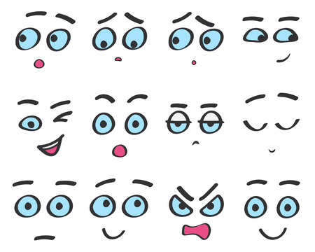 Vector color line emoji cartoon faces set. Funny avatar emotions isolated.