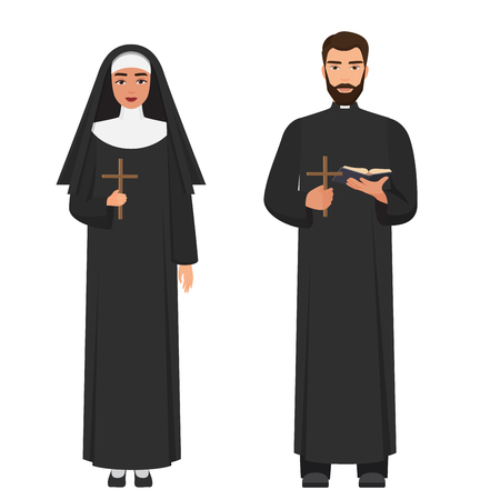 Vector Catholic priest and nun holding cross rood.