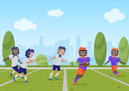 Kids children playing american football match. Vector illustration cartoon design.
