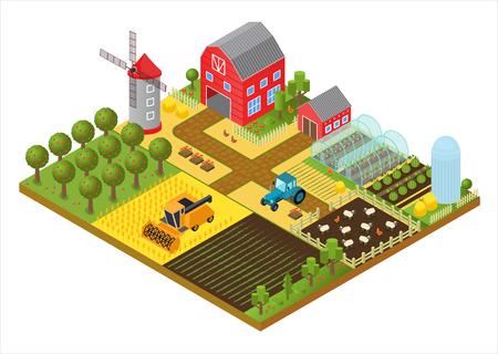 Landelijke boerderij 3d isometrische sjabloon concept met molen, tuinpark, bomen, landbouwvoertuigen, boerenhuis en broeikasgame of app vectorillustratie. Vector Illustratie