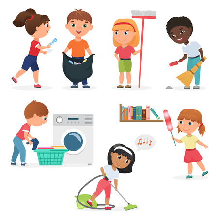 Vector Cartoon kids cleaning at home set. Children in various cleaning positions. Çizim