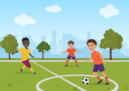 Niños niños jugando fútbol soccer. Ilustración de vector.