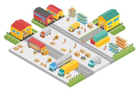 3d isometric process of the big warehouse company. Warehouse exterior buildings square, delivery business, cargo storage vector illustration.
