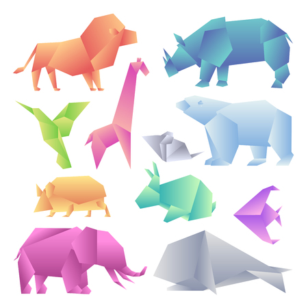 Low poly modern gradient animals set. Origami gradient paper animals. Lion, rhino, hummingbird, giraffe, mouse, bear, hedgehog, hare, fish, elephant, whale. 向量圖像