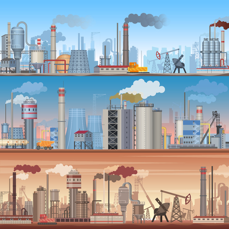 Set of realistic detailed Industrial web banner backgrounds. Vector industrial factory infographic templates. Illustration