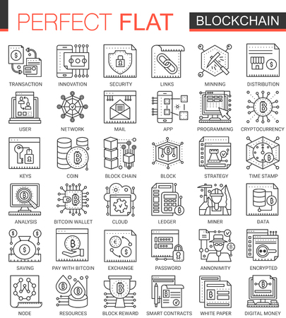 Blockchain outline mini concept symbols. Bitcoin, ethereum cryptocurrency modern stroke linear style illustrations set. Çizim