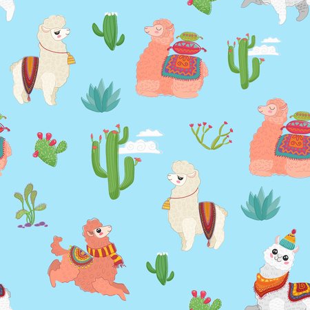Hand drawn vector seamless pattern with cute lama alpaca, cactus and other plant herbs.