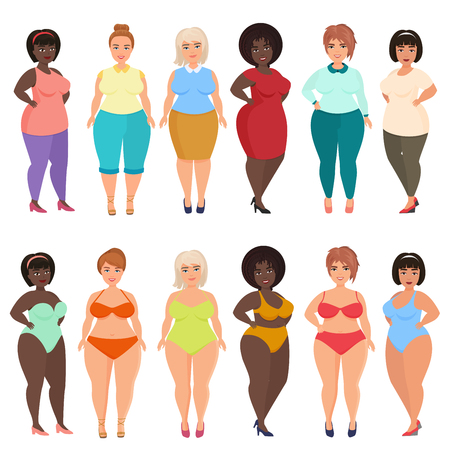Vector beautiful cartoon happy and smiling plus size woman in casual, bikini, fashionable and evening dress. Curvy, overweight females set. Stock Photo