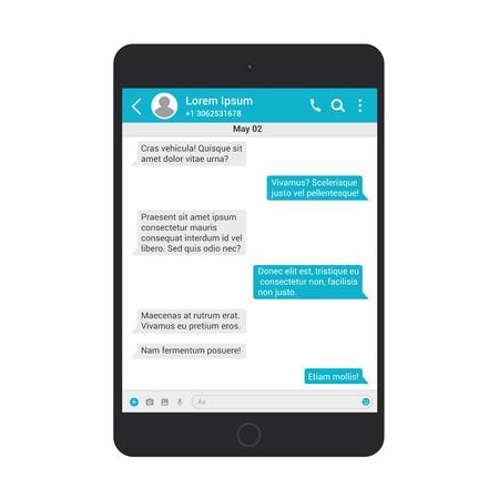 Concetto di illustrazione vettoriale di chat e messaggistica. Messenger di rete sociale nel modello di tablet isolato.