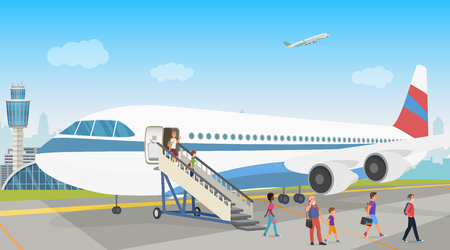 People landing from an airplane in airport. Disembarkation. Vector illustration.