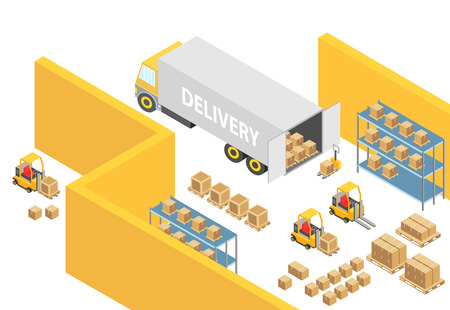 Warehouse isometric 3D warehouse interior map illustration with logistics transport and delivery vehicles. Loader forklift trucks, people and delivery boxes. Cargo company infographic vector template.