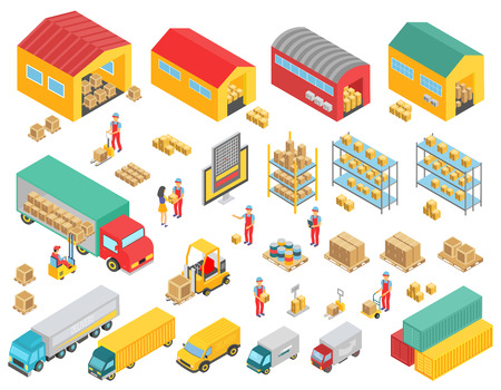 Logistics isometric icons set with cargo trucks, buoldings, warehouses and people symbols isolated vector illustration.