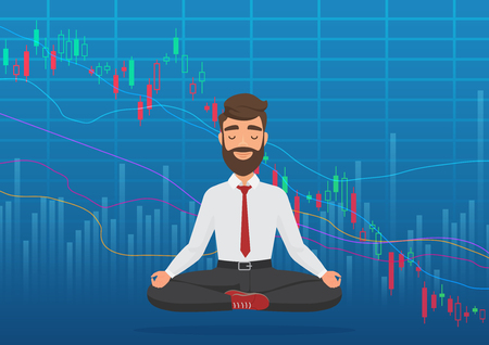 Young man trader meditating under falling crypto or stock market exchange chart. Business trader, finance stock market graph concept. Falling bearish Stock Market. Stock Illustratie