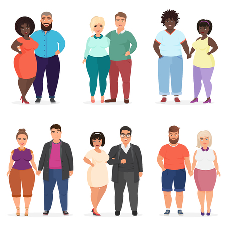 Vector Cartoon happy and smiling plus size people couples. Man and woman. Curvy, overweight fat people in casual dress clothes.