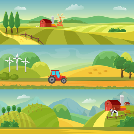 Rural landscape with fields and hills and with a farm. Agriculture and Agribusiness Farming. Rural landscape templates. Vector design for infographic and web. 向量圖像