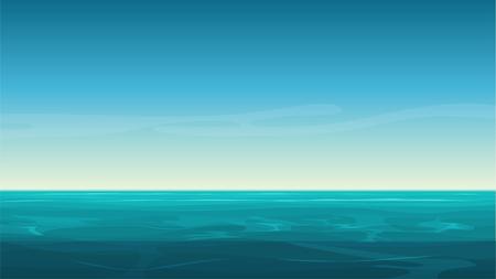 Vector cartoon clear ocean sea background with empty blue sky.