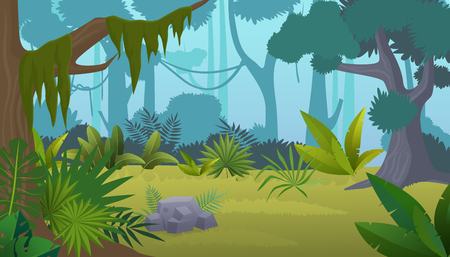 Vector cartoon empty tropical rainforest Jungle background. Imagens - 103521394