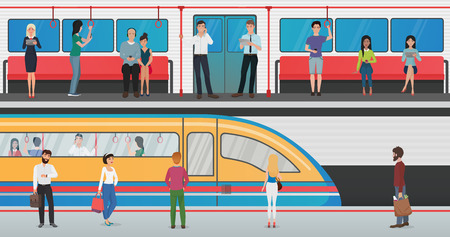 Subway inside with people and metro platform with train in underground station. Urban metro vector concept with passengers.