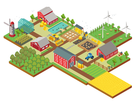 Vector 3d isometric rural farm with mill, garden field, farm animals, trees, tractor combine harvester, house, windmill and warehouse for app and game.