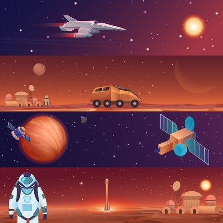 Vector illustration banners of space flight spaceships exploration. Mars in outer space, galaxy Mars rover, rocket shuttle and colony city base with astronaut.