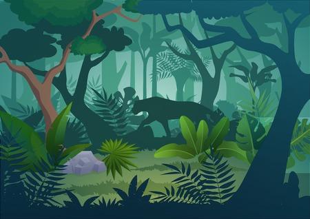 Vector cartoon tropische jungle regenwoud achtergrond met wandelende jaguar tijger.
