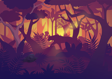 A high quality horizontal tropical rainforest Jungle background with tiger jaguar.