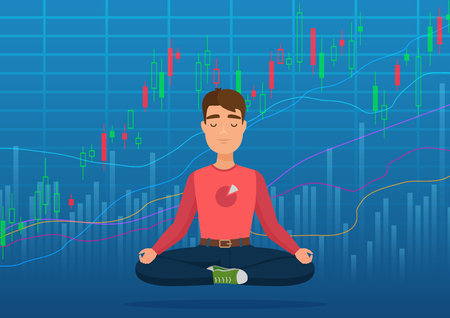 Young happy man trader meditating under crypto or stock market exchange chart concept. Business trader, finance stock market graph.