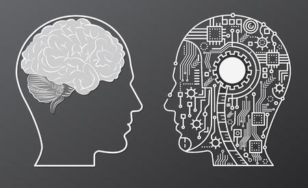 Cabeza de la mente del cerebro humano con la ilustración del concepto de cabeza de robot de inteligencia artificial. Ilustración de vector