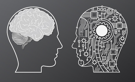 Human brain mind head with artificial intelligence robot head concept illustration. Vettoriali