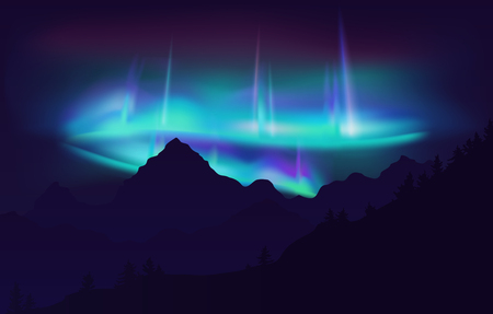 Beautiful Aurora Borealis northern lights in night sky over mountain. Vector illustration. Фото со стока - 103521565